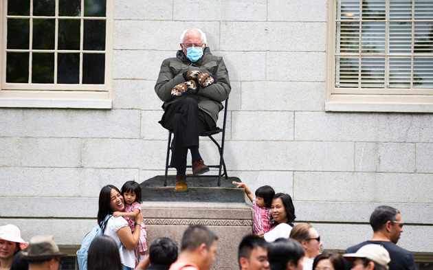 Bernie Sanders as statue of John Harvard