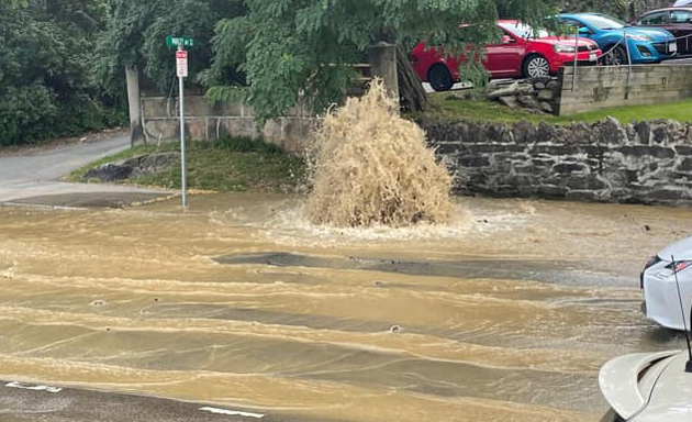 Hydrant becomes geyser in Jamaica Plain