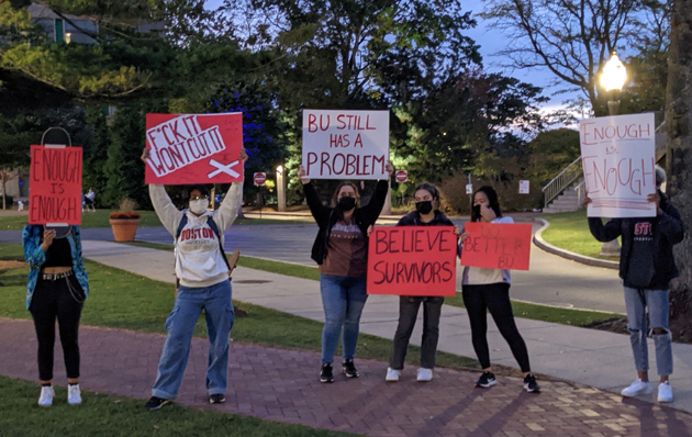 Protesting sexual assault on BU Beach