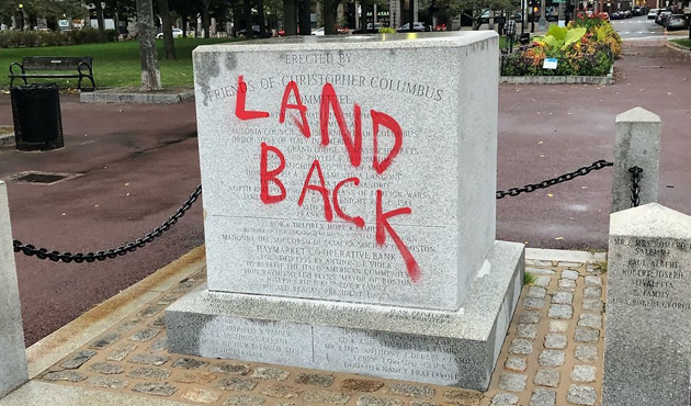 Base of former Christopher Columbus statue in his epnonymous North End park