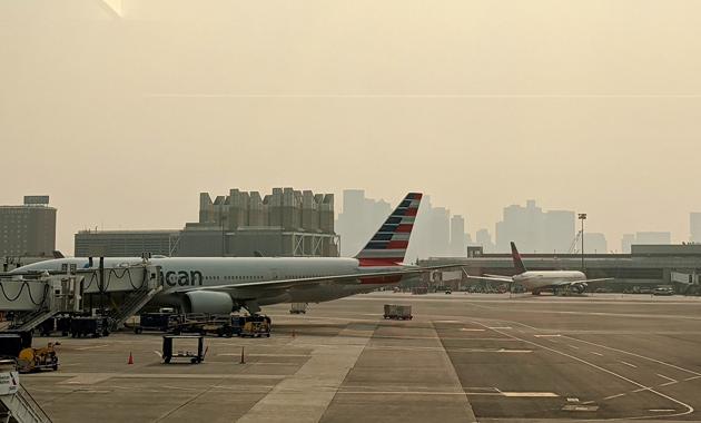 Hazy Logan Airport