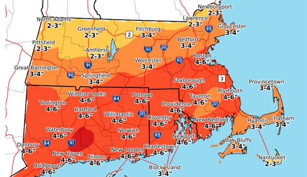 Map showing estimated rain totals across southern New England - 4-6 inches in Boston
