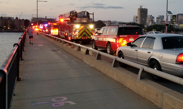 Large first-responder on Massachusetts Avenue Bridge