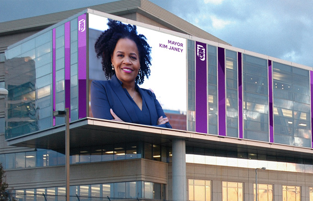 Mayor Janey on WGBH billboard in Brighton