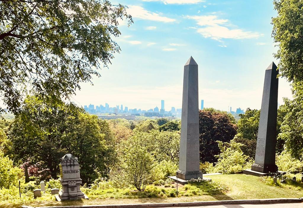 Harvard Stadium and downtown Boston from Mount Auburn Cemetery