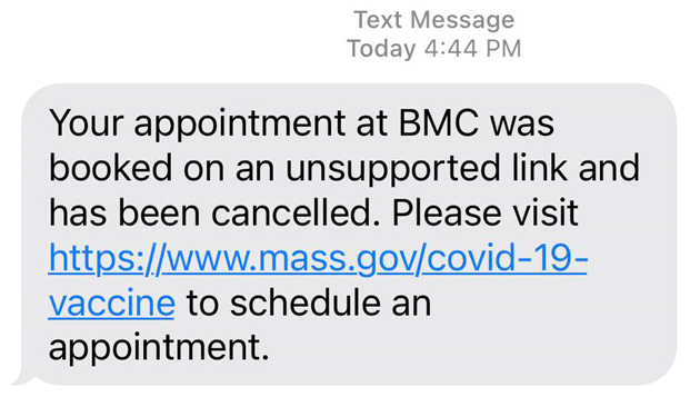 Oops: Message saying pretend you didn't have a shot appointment