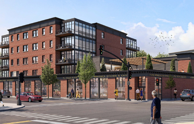 Rendering of new Doyle's with condos and a grocery store