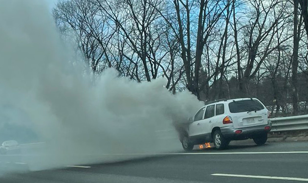 Car fire on the Massachusetts Turnpike