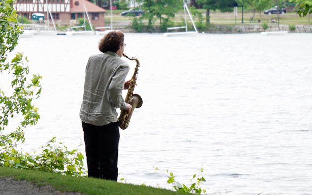 Saxophone player at Jamaica Pond