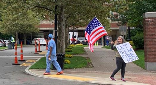 Protester outside Boston Medical Center