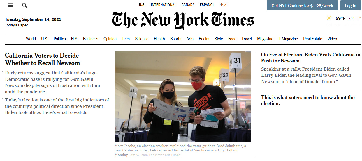 New York Times home page with People's Republik T-shirt prominently featured