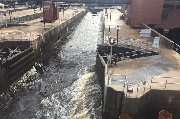 Locks open at Charles River Dam