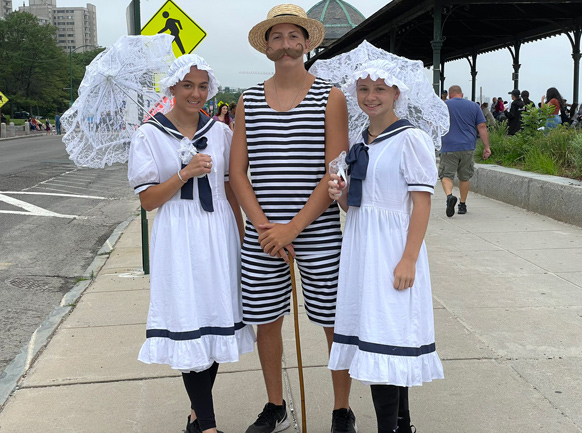 Dressed up like old time bathers at Revere Beach