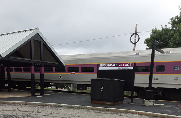 Needham Line train in Roslindale on a Sunday