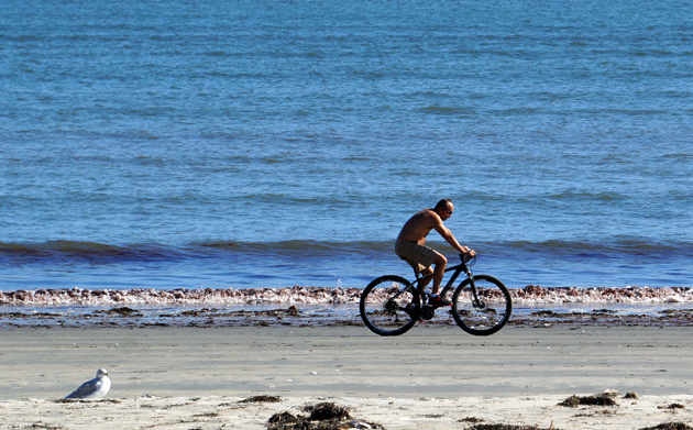Biking on Revere Beach