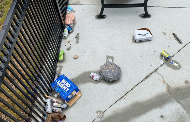 Detritus from late-night slobs