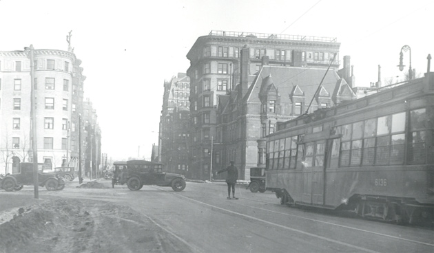 Trolley and old cars in old Boston