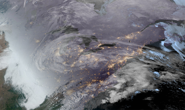Satellite image of the nor'easter to come