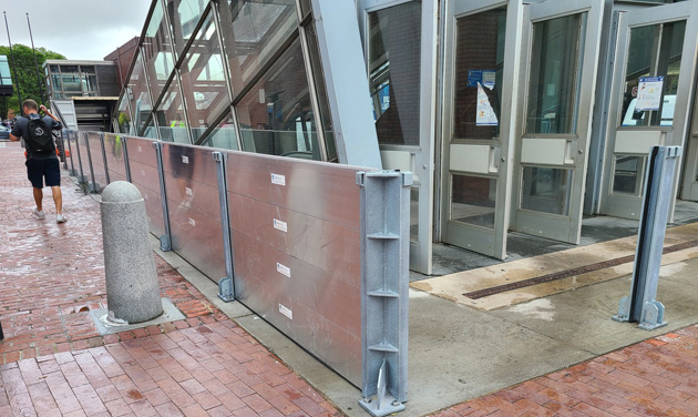 Flood barrier in place on Long Wharf