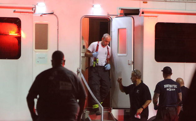 Firefighters at movie trailer where body was found