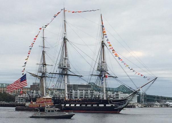 USS Constitution moves into Boston Harbor