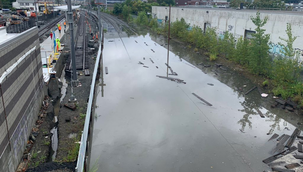 Flooded commuter rail tracks in Union Square, Somerville