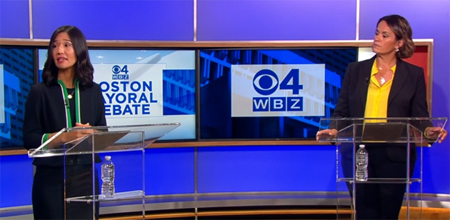 The two candidates in the WBZ debate