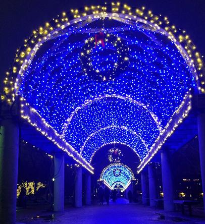 Holiday lighting at Christopher Columbus Park