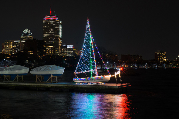 Christmas boat at Community Boating on the Charles
