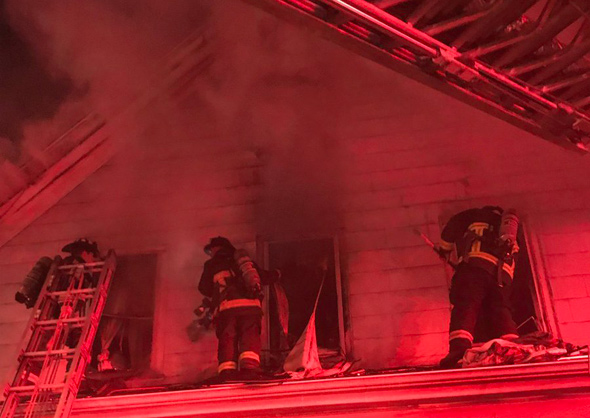 Boston firefighters at Bearse Avenue fire