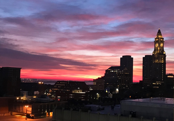 Boston sunrise on Dec. 31