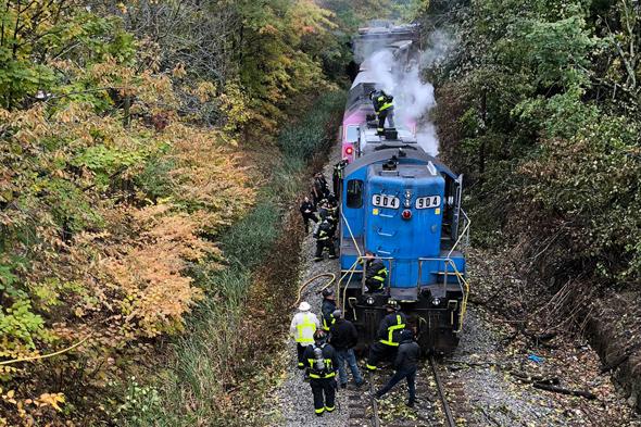 Locomotive on fire in West Roxbury