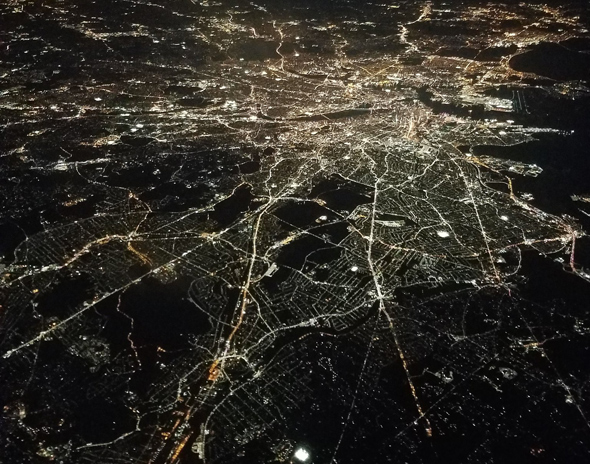 Boston from the air at night