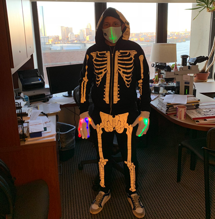A very bony pathologist on Halloween