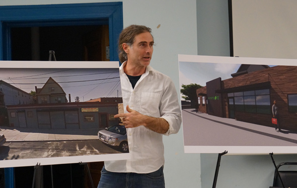 Before and after images of Roslindale pot-shop proposal