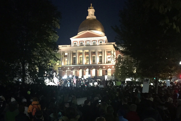 Mueller protest in front of the State House in Boston