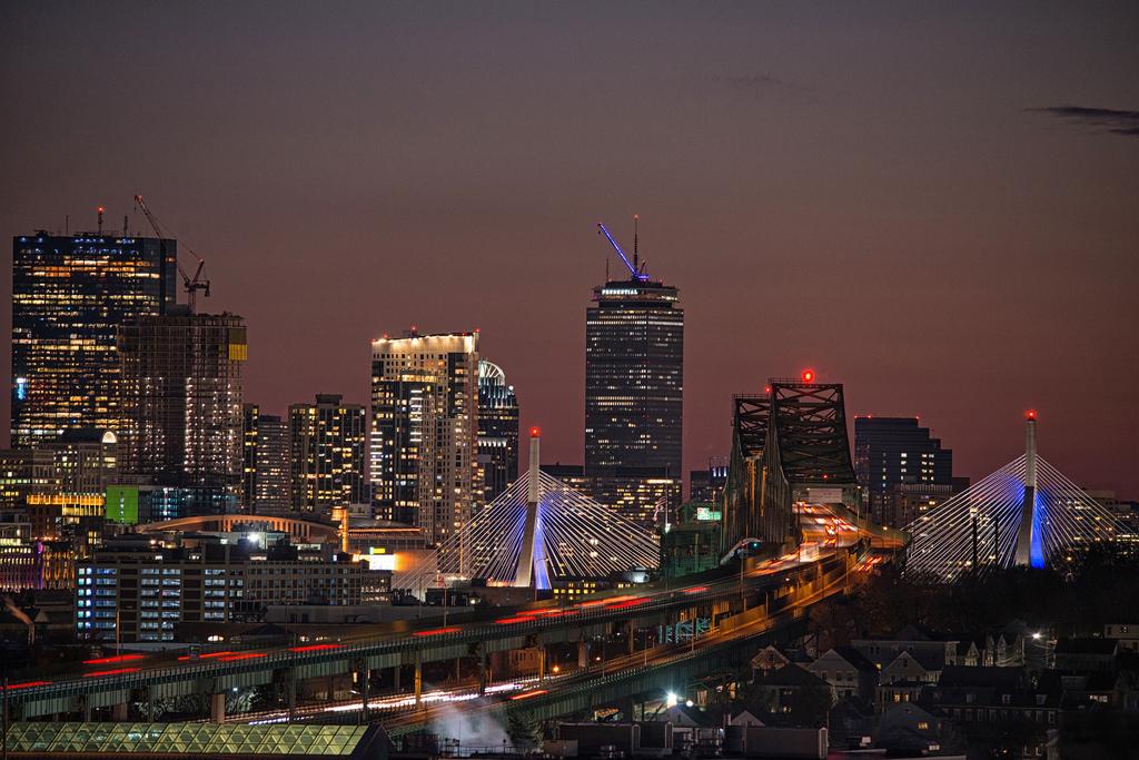 Boston skyline and Tobin Bridge at night