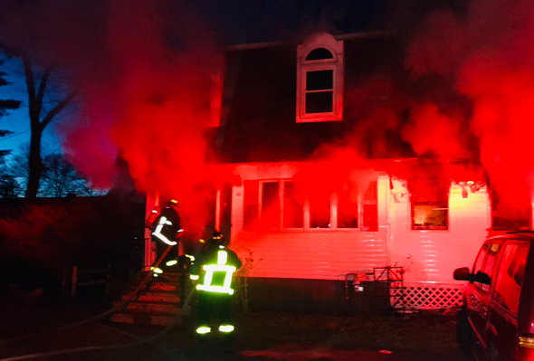 House on fire on Perham Street, West Roxbury