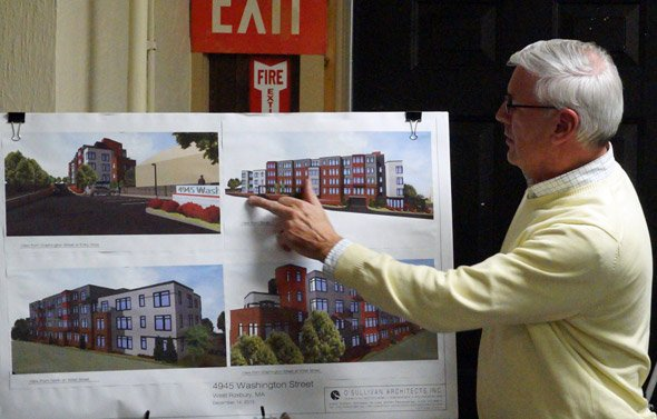 Architect David O'Sullivan shows off proposed apartments at 4945 Washington St. in West Roxbury