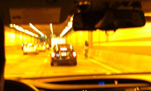 Bicyclist in the Tip O'Neill Tunnel
