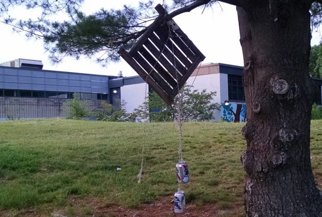 Wind chimes in Ringer Park in Allston