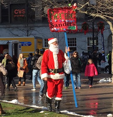 Bernie Sanders backer dressed as Santa Claus in Copley Square