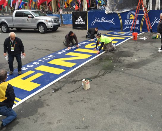 Cleaning the Boston Marathon finish line in the Back Bay