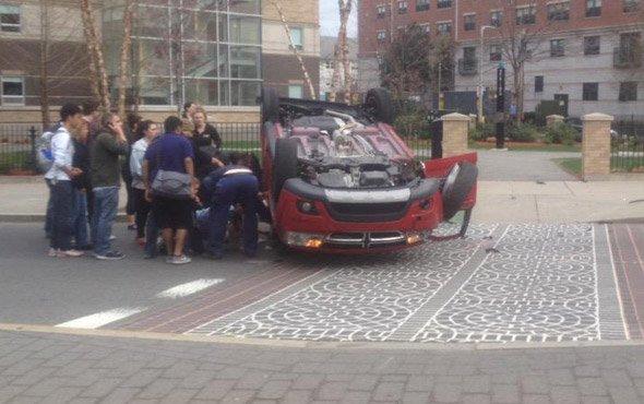 Flipped car on Huntington Avenue in Boston