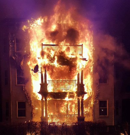Three-decker house on fire in Dorchester