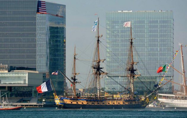 French tall ship Hermione in Boston Harbor
