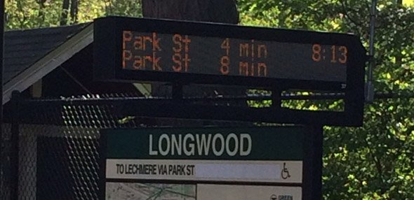 Countdown clock at Longwood on the Riverside Line