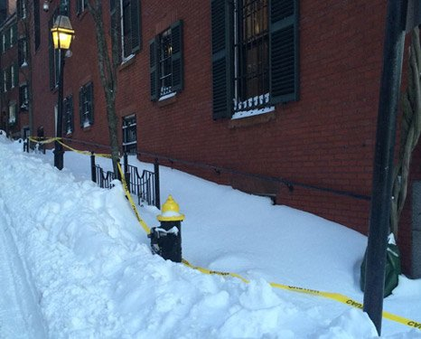 Louisberg Square on Beacon Hill in the snow