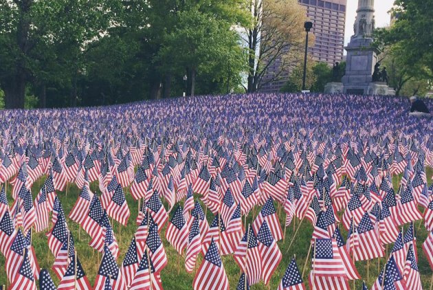 Memorial Day flags on Boston Common