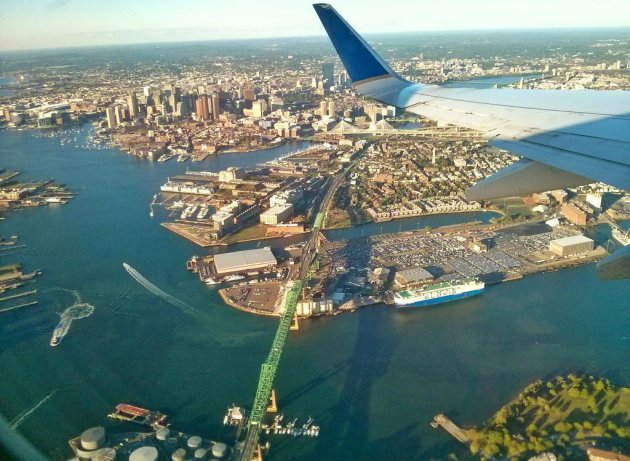 Flying over the Mystic River and the Tobin Bridge
